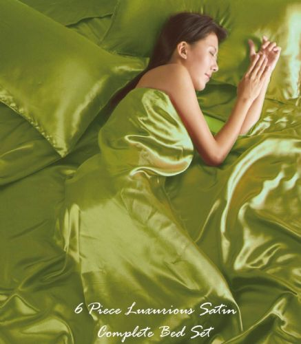 LIME GREEN COLOUR STYLISH SATIN LUXURY BEDDING DUVET QUILT COVER SET